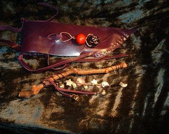 Shalindria's Celtic Crone  Wand of Wisdom with Amazon pouch.