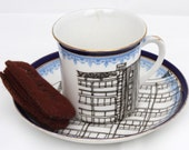SALE Blue Block Tea Cup and Saucer