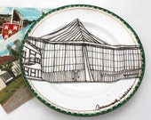 SALE Illustrated Plate, Up-cycled, Commonwealth Institute FURTHER REDUCTION