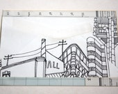 Drawing on Up-cycled Small Envelope, featuring the Lloyds Building.
