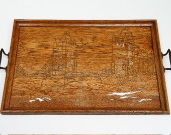 Up-cycled Antique Wooden Tray featuring Tower Bridge