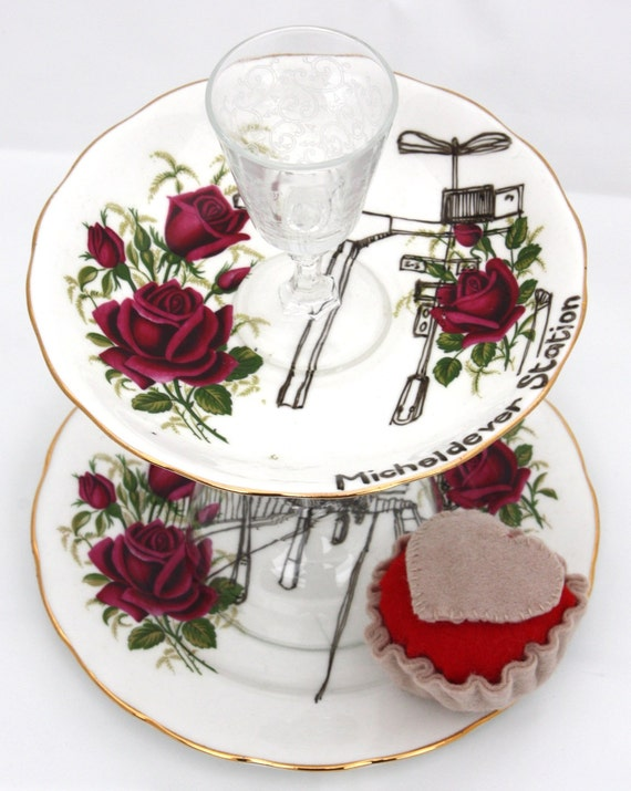 Cake Stand, Upcycled, Vintage Rose Micheldever FURTHER REDUCTION