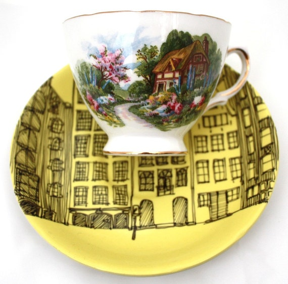 SALE The Amsterdam houses tea cup and saucer