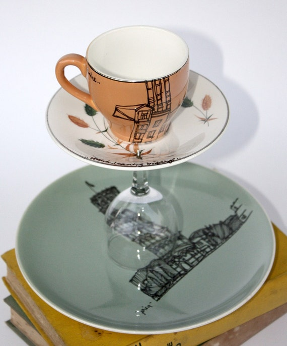 Illustrated Cake Stand, Up-cycled, 'Leaning Italy' SALE