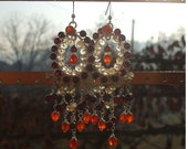 Garnet Citrine Carnelian Sterling Silver wire wrapped chandeliers ooak earrings