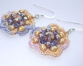 Swarovski, Pearls, silk embroidered earrings
