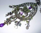 Multi Gemstones Oxidized Silver Intricate Wire Wrapped Luxury Necklace-Amethyst, Peridote, Labradorite, Moonstone, Pink Quartz, Tourmaline
