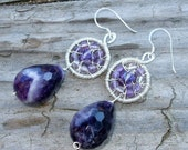 Amethyst, Swarovski crystals, Sterling silver Wire Wrapped Earrings