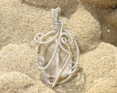 Rock Ice Crystal Quartz Sterling Silver Wire Wrapped Pendant