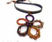 ELODIE Cotton yarn Enamelled copper Flower Spring Violet Orange Ochre Ice Mustard Green Crystals