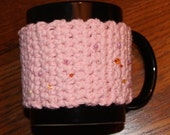 Pink Beaded Hand Crocheted Coffee Cuff or Cozy Free Shipping in the US