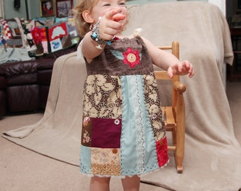 Toddler Dress Quilted, Appliqued, Original Design, Brown Linen, Turquoise, Embroidered