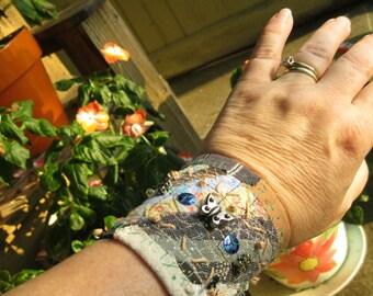 Textile Wearable Art Bracelet Cuff Fiber Diagonal Pieced Metal Butterflies FRee Shipping in US
