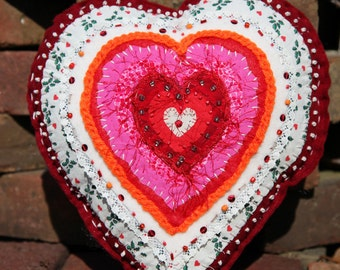 Red Heart Pillow Embroidered Fiber Art Free Shipping in the US