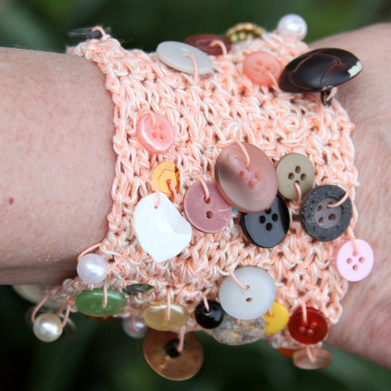 Peach Crocheted Beaded and Buttoned Bracelet Original