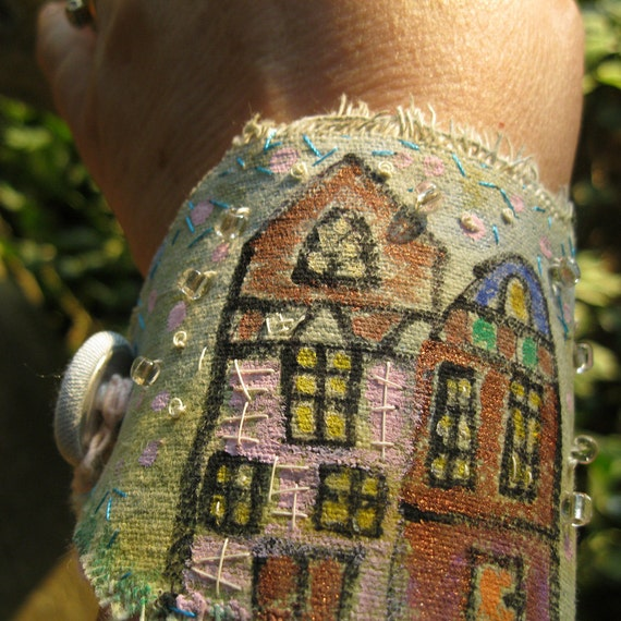 Bracelet Cuff Hand Painted Beaded Stitched Cityscape Houses  Free Shipping in the US