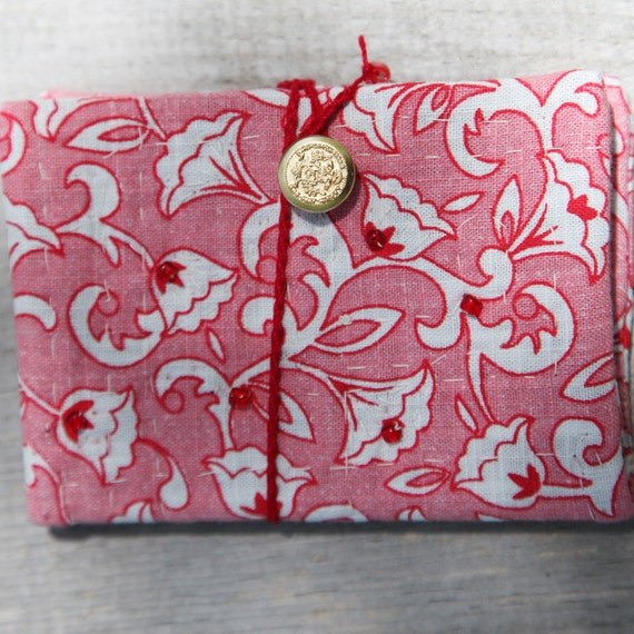 Mini Fabric Journal Red and White Flowers Beaded Gift Free Shipping in the US