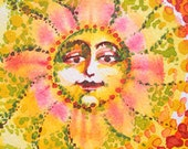 Every corner of the World is Touched by the SUN ACEO original watercolor
