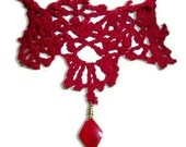 Vintage Style Lacey Crocheted Red Choker with Bead