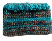 Crocheted Make-up Bag Turquoise and Rainbow Colors