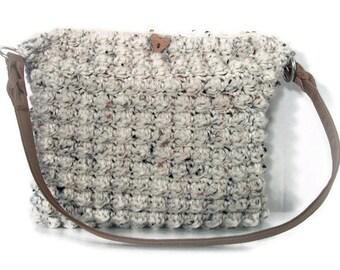 Crocheted Handbag Shoulder Bag Tote Crocheted Purse Off White