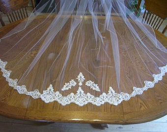 Ivory or White 1 Tier Cathedral Wedding bridal Veil beaded alencon lace bottom trim Add a blusher for 10.00