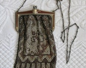 Vintage MIDNIGHT IN PARIS  Art Deco Mesh Bag by Whiting and Davis 1920s