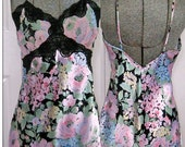 Vintage BLACK LACE   and Flowers  NIGHTGOWN by Victoria's secret  1980s