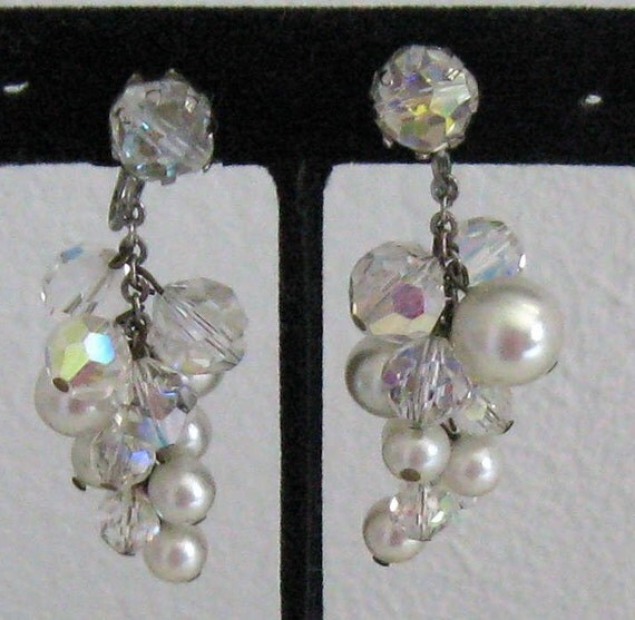 Vintage CRYSTAL DANGLING EARRINGS 1960s reserved for Yvonne