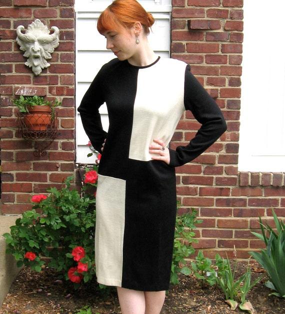 Vintage Classy Black and White Color Block  DRESS 1980s Size L