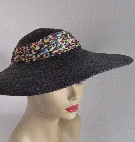 Vintage Wide Rimmed Midnight  BLUE STRAW HAT by Frank M. Benson 1950s