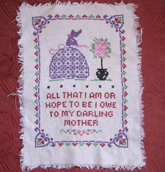Vintage  MOTHER  Embroidered Cross Stitch Panel 1940s