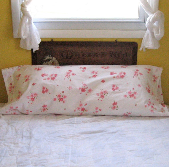 Vintage PINK WILD ROSES Bolster Cover 1970s