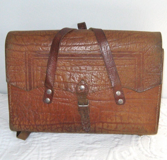 Vintage  LEATHER SCHOOL SATCHEL from Germany 1940s