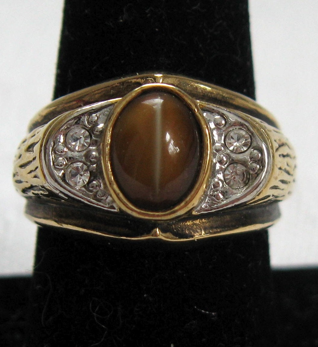 Vintage Tiger Eye 14k Mens Ring 1960