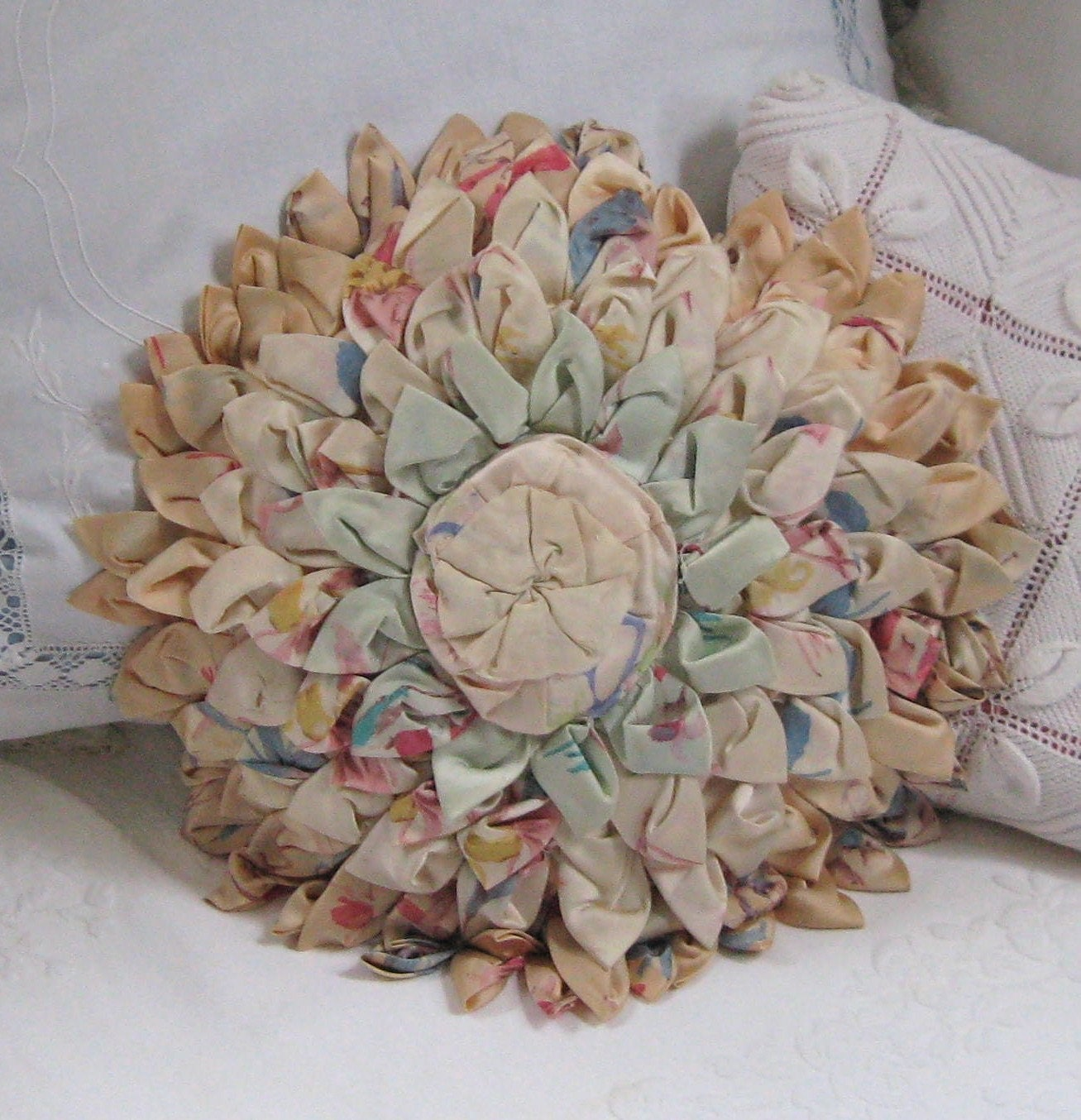 vintage shabby chic flower petal pillow 1930s