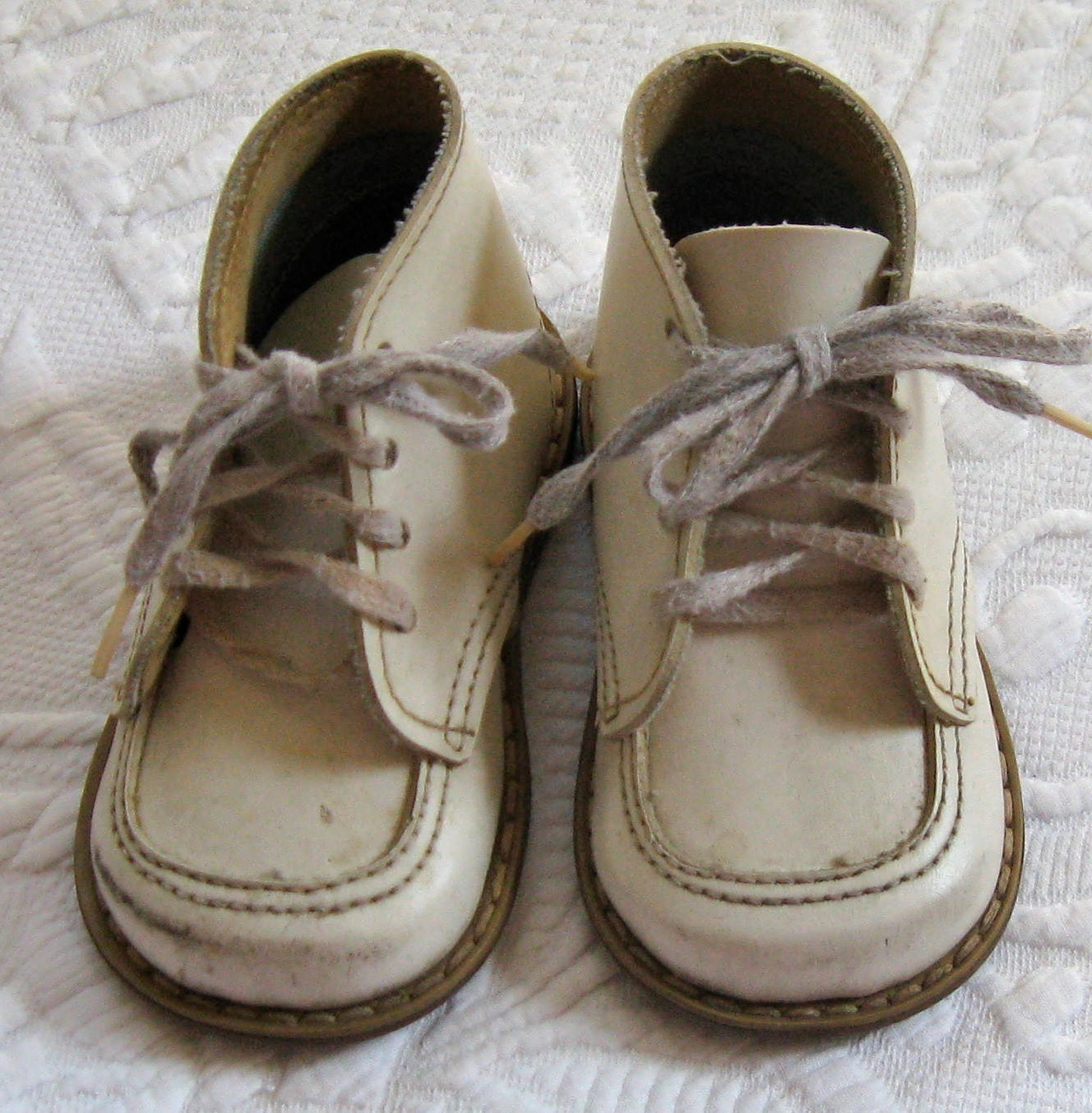 vintage white baby shoes 1950s