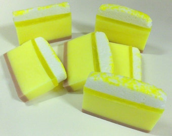 Lemon Cream Soap - Goat's milk soap slice, bar of custom made soap