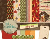 Thanksgiving Digital Scrapbook Kit: Fall, Turkey, Leaves