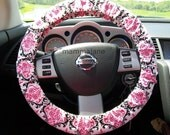 Pink and Black Damask Steering Wheel Cover