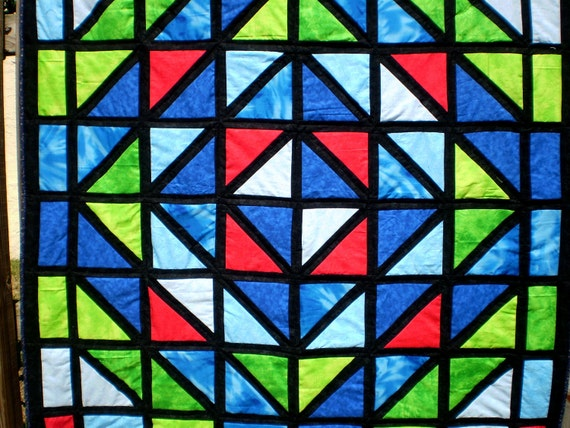 Lap or throw- Stained Glass Sensation 48 inches square