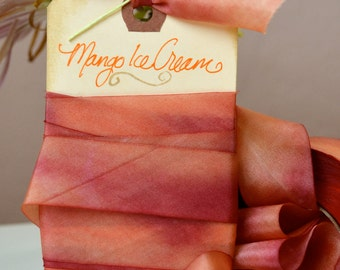 Mango Ice Cream - Hand Dyed Silk Ribbon by Hanah Silk 1 inch wide