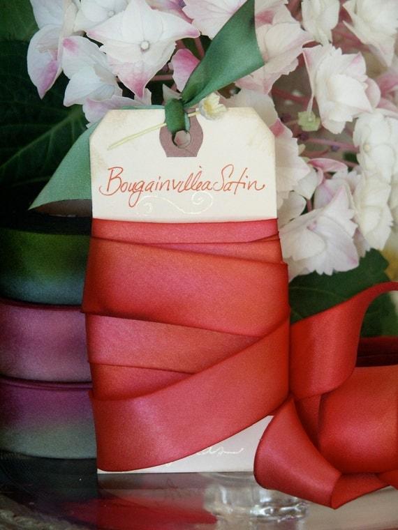 Bougainvillea Satin - Hand Dyed Silk Ribbon by Hanah Silk 1 inch wide