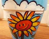 8 Inch Terra Cotta Pot -  Smiley Face Flower Pot with Sunflowers and Clouds