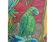 Key West, Florida - Original Painting of a Parrot on Duval Street