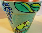 "Small Green Frogs - 6"" Original Hand Painted Flower Pot"
