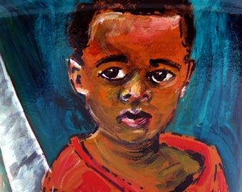 Gentle Eyes of a Little Boy in the Bahamas - 8 X 10 Reproduction of Original Acrylic