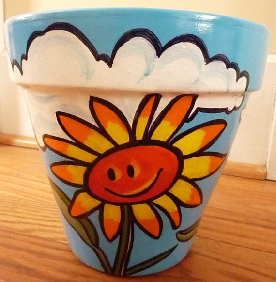 8 Inch Terra Cotta Pot Smiley Face Flower Pot With