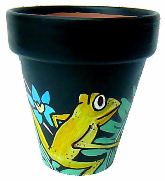 Little Green Frog at Night -  Original Hand Painted Flower Pot