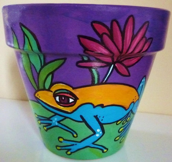 """Frog and Lily Pad - 6"""" Original Hand Painted Flower Pot"""